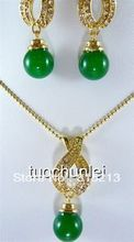 ddh0621 Green Jade Beads Inlay Crystal Lucky Necklace Earring Jewelry Set(China (Mainland))