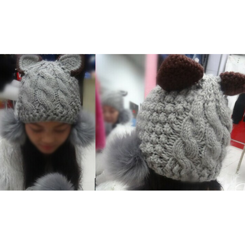 Фотография 10x( 2016 Stylish Cat Shape and Downy Ball Decorated Hemp Flower Pattern Knitted Hat For Women Gray