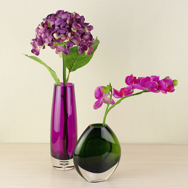 New arrival modern concise purple glass vase fashion home living room study decorations(China (Mainland))
