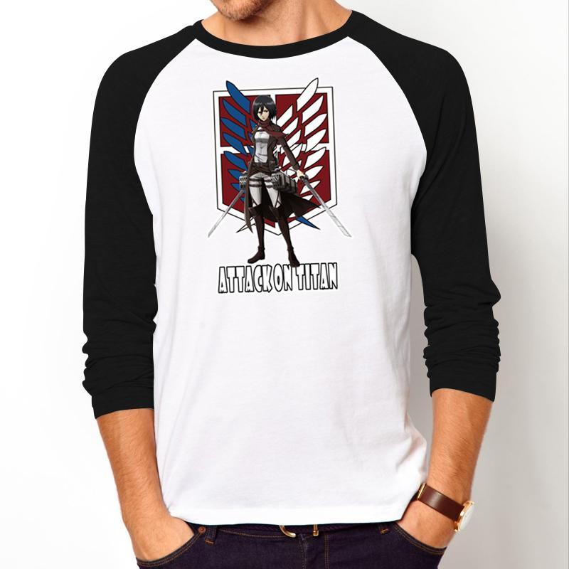 Fashion Cartoon men's t-shirt anime Attack on Titan casual shirt Mikasa Ackerman image T shirt for men long sleeves tops tees(China (Mainland))