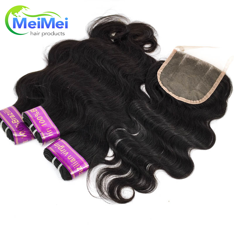 12 Inch 4 Pcs/lot Brazilian Body Wave Human Hair Bundles and Closure 7A 100% Unprocessed Virgin Hair Lace Closures with Bundles