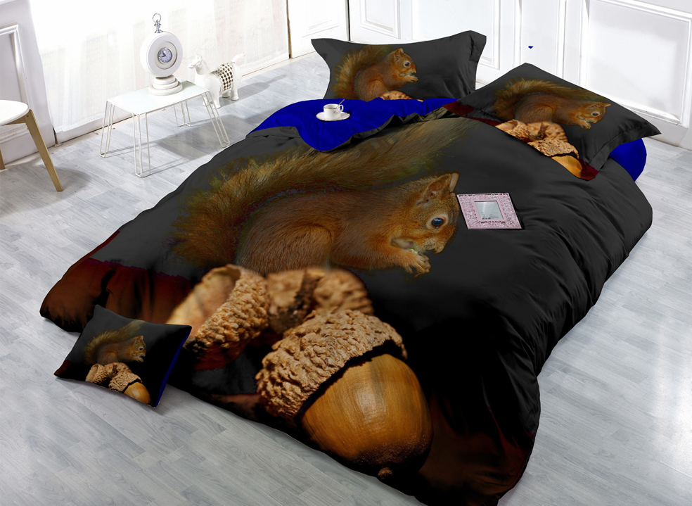 Squirrel and Acorn Digital Print 4 Pcs Cotton Silky 3D Complete Luxury Bedding Sets(China (Mainland))