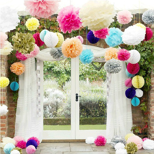 "10PCS 8"" 20CM Colorful Paper Flowers Kissing Ball Wedding Home Birthday Party&Wedding Car Decoration DIY Tissue Paper Pom Poms(China (Mainland))"