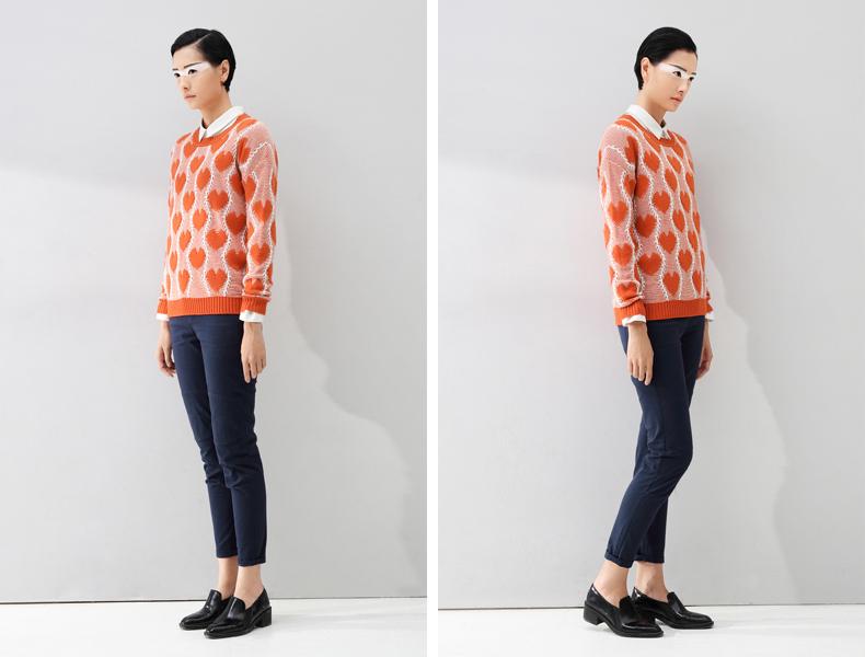 Toyouth 2015 Одежда Женская Мода Сердце Pattern О-Образным Вырезом Вязаный Пуловер Свитер Топы