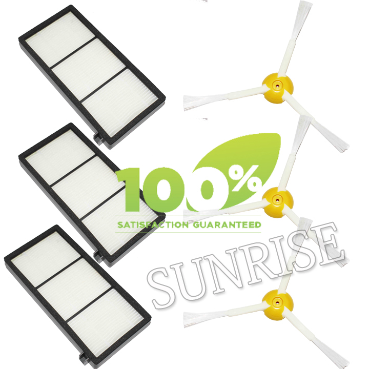 3 Piece Replacement Filter and 3 Piece Side Brush For iRobot Roomba 800 Series 870 880 Vacuum Cleaner Filter(China (Mainland))