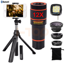 Buy 12X Telephoto Zoom Lens Fish eye Wide Angle Macro Lentes Telescope Phone Lenses iPhone 5 5s 6 6s 7 Plus Xiaomi Clips Tripod for $22.27 in AliExpress store