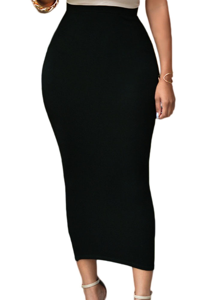 Solid-Black-High-waisted-Bodycon-Maxi-Skirt-LC71188-2-1
