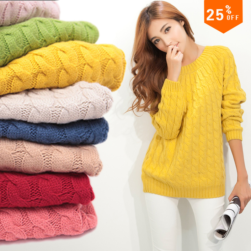 Free Shipping ! 2014 Christmas Long Sleeve O-neck Plus Size Ladies Knit Sweaters Women Sweaters and Pullovers Casual Sweaters(China (Mainland))