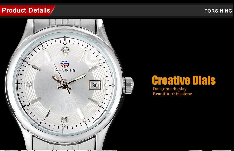 FORSINING мода женщины кварцевые часы повседневная марка женщины авто дата женские часы стальной ленты наручные часы relogio feminino