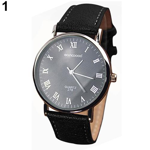2015 hot Mens Roman Numerals Faux Leather Band Quartz Analog Business Wrist Watch 4DAU 6T5M<br><br>Aliexpress