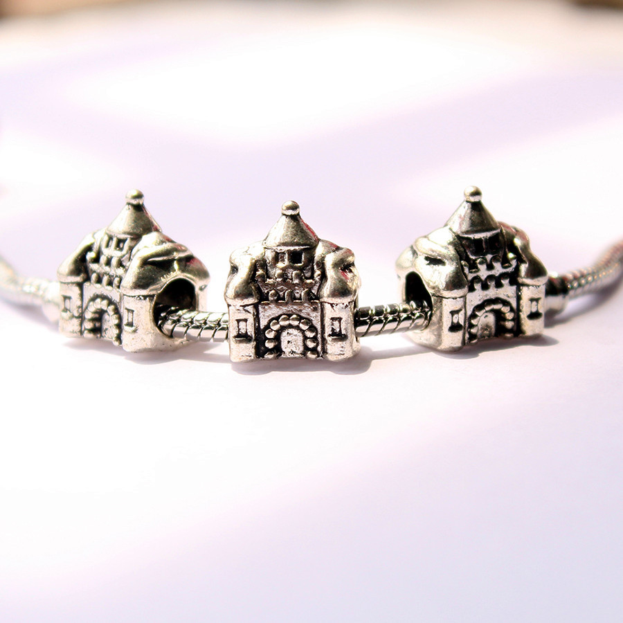 1pc free shipping DIY castle alloy beads fit Pandora style charms bracelet part neckless Jewelry accessories -6(China (Mainland))