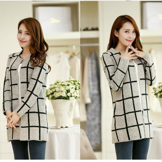 2016 new sweater knitted woolen jacket and long sections women knit cardigan sweater female big lattice