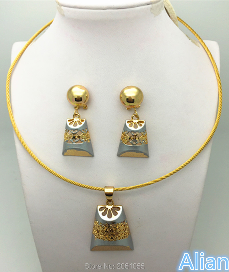 circle necklace Jewelry Sets For Women Wedding Bridal Party Gold Plated Pendant Fine Necklace Earrings Bracelet Rings Set(China (Mainland))