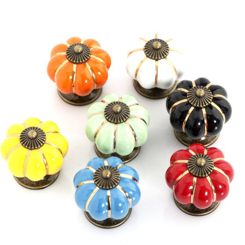 Europe style Ceramic Pumpkins Knobs Door Cabinet Cupboard Handles Pull Drawer 40mm furniture accessories 10PCS free shipping(China (Mainland))