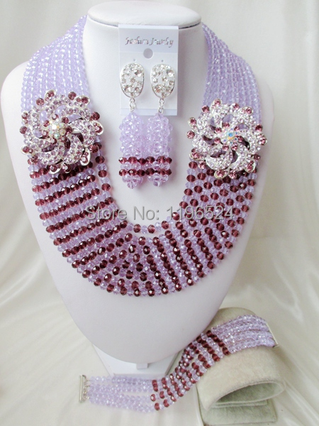 Luxury African Wedding Set Nigerian Crystal Beads necklace Fashion perfect India Women Bridal Jewelry Set Free Shipping B-13235<br><br>Aliexpress