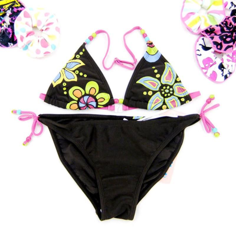 2 шт. малыш новорожденных девочек холтер цветочные бикини пляж купальник танкини 8-16Years сверху + снизу бесплатная доставка