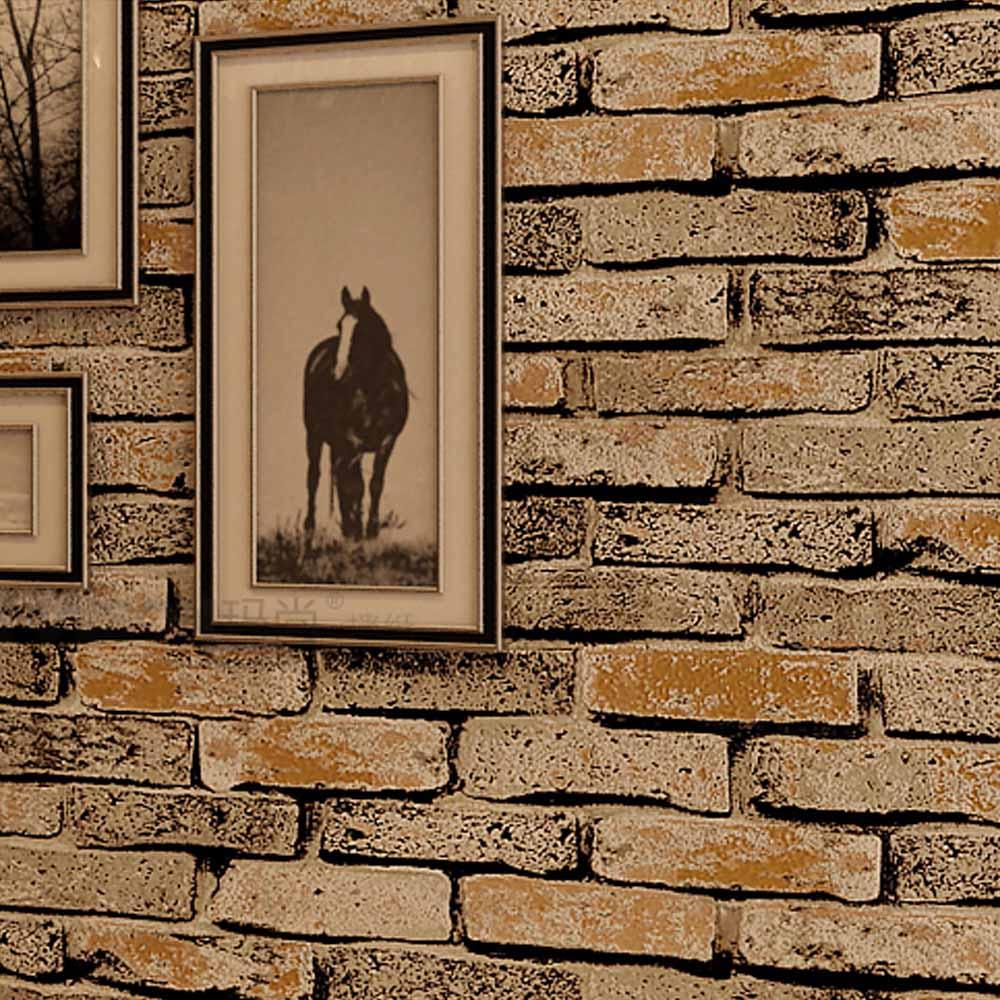 Brick brick brick wallpaper pattern perspective retro personalized wallpaper stone culture nostalgia retro yellow backdrop