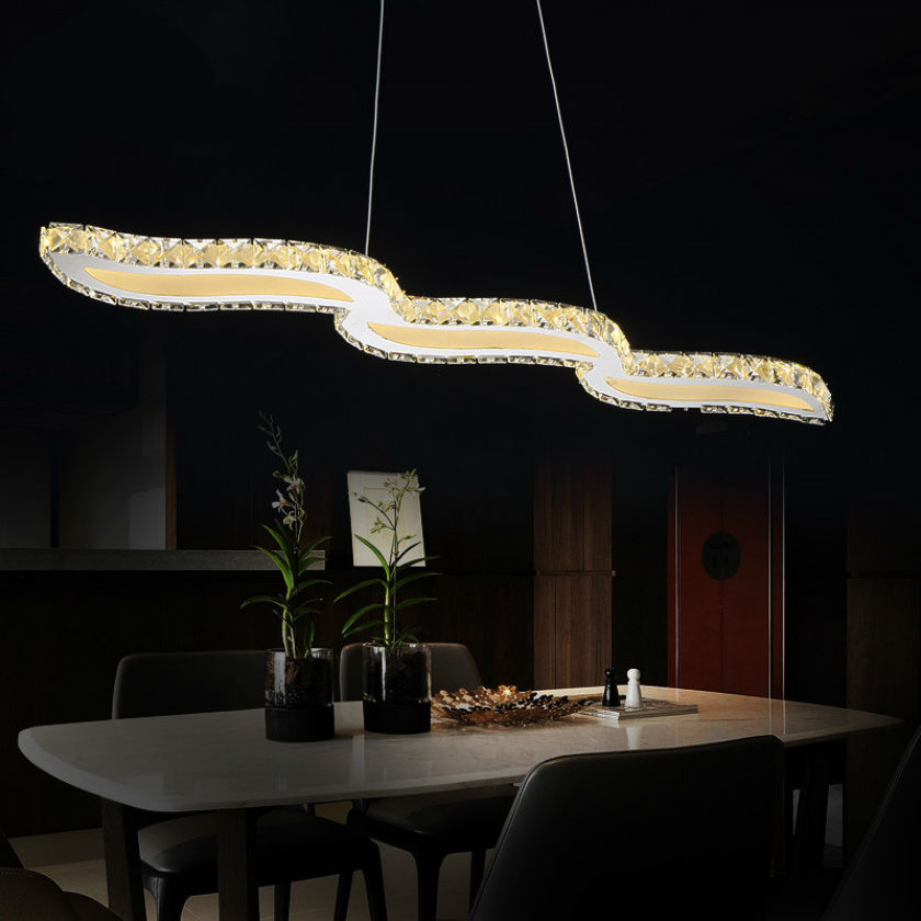 Hot selling Crystal wavy LED Pendant Lights lustre Modern Stainless Steel LED hanging lamp/light/lighting fixture for Restaurant(China (Mainland))