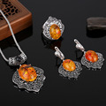 HENSEN Unique Design Turkish Jewellery Set Antique Silver Plated Black Crystal And Faux Amber Vintage Jewelry