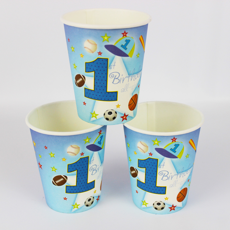New Boy Girl Baby Happy Birthday Party Decoration Kids Supplies Favors Sports Boy Paper Cup Drink 12Pcs/lot(China (Mainland))