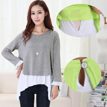 Spring/Autumn New Long-sleeved Cotton Maternity Nursing Top Clothes Breast Feeding Clothing for Nursing Breastfeeding Shirt