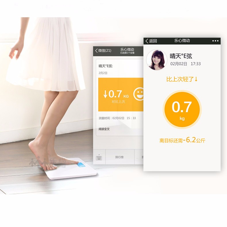 image for A3 Mini Smart Fat Scales Intelligent Weighing Tool Multi Health BMI Da