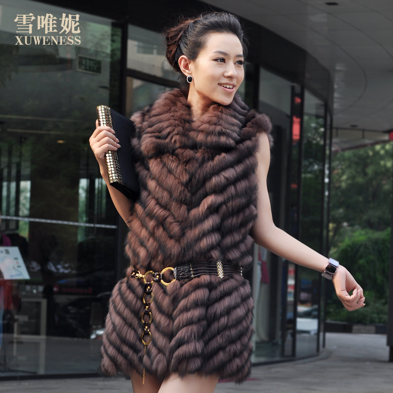 2013 medium-long fur coat fox fur large fur collar genuine leather clothes female(China (Mainland))