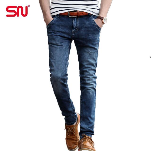 Новый Высокое Качество молнии джинсы для мужчин Мужские Джинсы Стрейч Синий Джинсовые ...