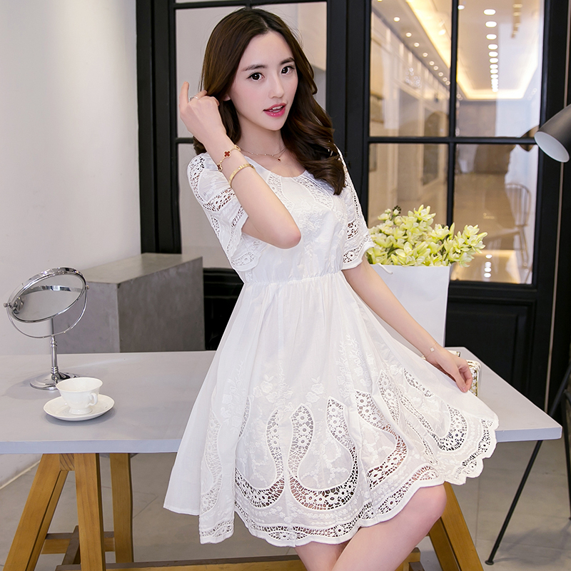 2015 summer women dress cute Half sleeve lace openwork embroidery white dress round neck patchwork cotton Ball Gown party dress(China (Mainland))