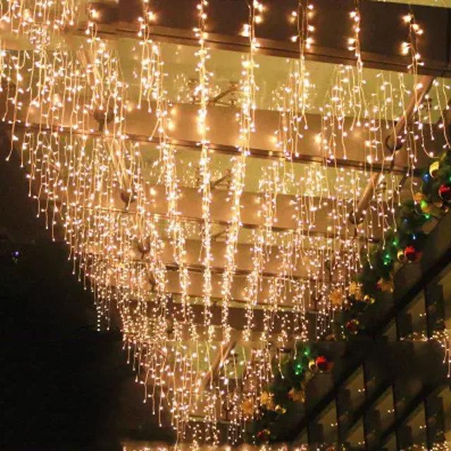 AC 220V-240V EU AU Plug  5M curtain icicle string lights Christmas Garden lamps Icicle Lights Xmas Wedding Party Decorations
