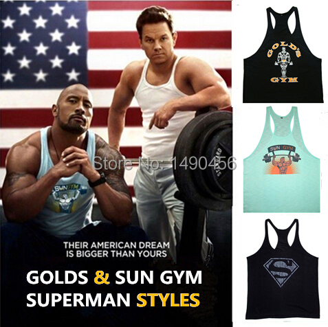 Superman Gym Tank Top Mens Tank Tops Muscle Shirt,Bodybuilding Vest Fitness Men's Golds Gym Stringer Singlets Sports Clothing(China (Mainland))