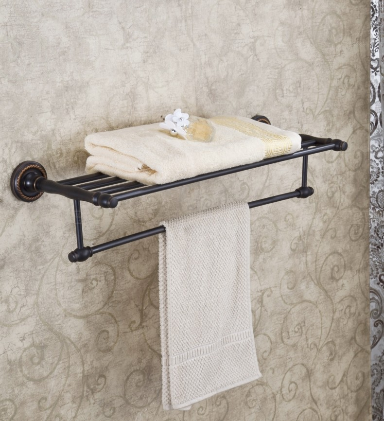 Wall Mount Bathroom Towel Shelf Clothes Towel Rack Holder Oil Rubbed Bronze In Towel Racks From