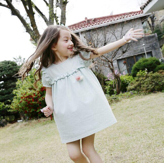 2016 new summer kids clothing light girls puff sleeve child dress solid green quality cotton linen casual kids dress(China (Mainland))