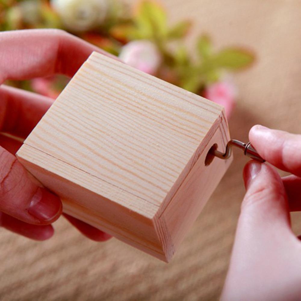 V1NF 18 Tones Wooden Mini Swivel Hand-operated Type Music Box DIY Mechanical Hand Crank Craft Music Box Movement Gift for Elise(China (Mainland))