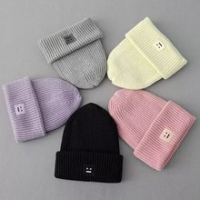 2T13 European Fashion women winter warm Knitted Smile Embroidery patchwork casual brand Headgear Headdress Various(China (Mainland))