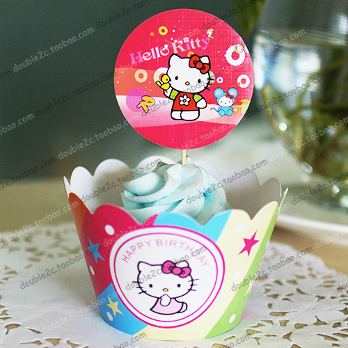 Free Shipping 24pcs Hello Kitty Cute Cupcake Wrappers Kids Birthday Party Decoration Fanciful Wraps(China (Mainland))