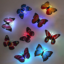 Hot Colorful Butterfly LED Night Light Luminous Suction Decoration Light Baby Kid Room Bedside Lamp Indoor lighting Party Decor(China (Mainland))