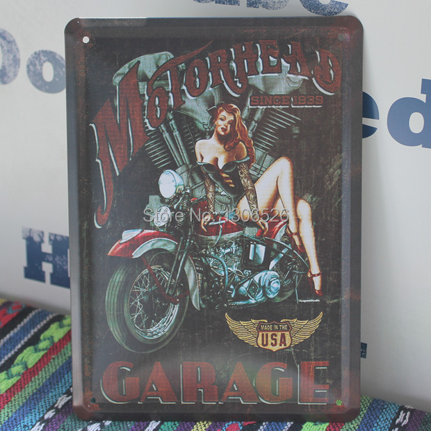 Motorcycle office decoration vintage home decor metal tin for Motorcycle decorations home