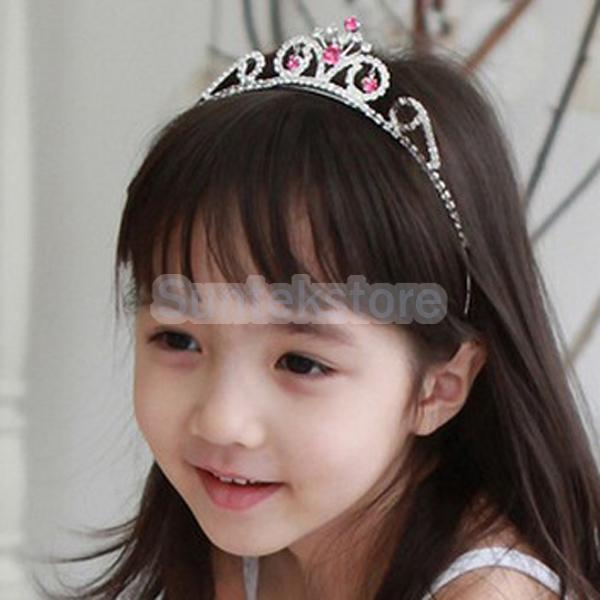 New 2015 Brand New Wedding Party Children Flower Girl Crown Headband Tiara w Fuchsia Crystal Free