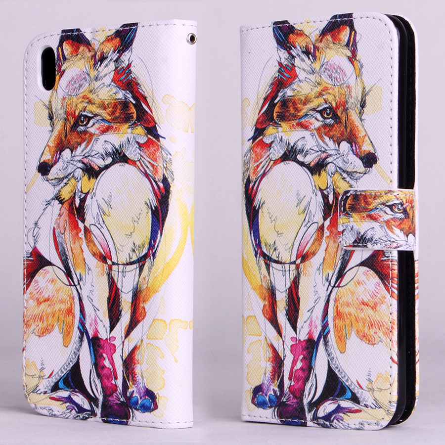 Fox Pattern Leather Flip Stand Wallet Pouch Cover Case For HTC Desire 816 800 D816W Phone New(China (Mainland))