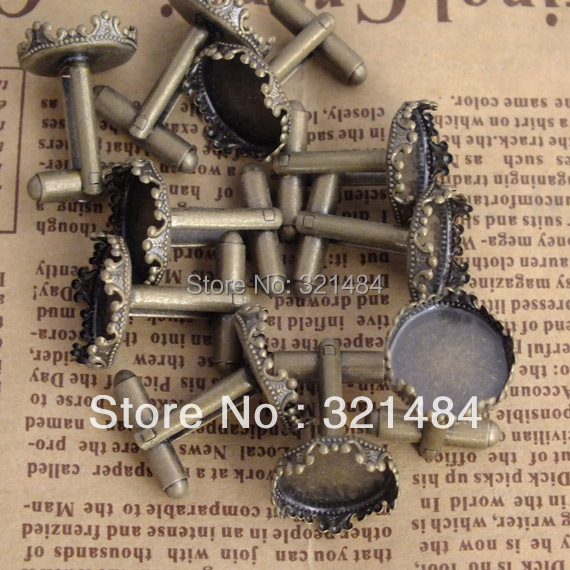 HOT SALE 200pcs 15mm King crown Antique bronze bezel setting, Cufflink Base Blank Findings<br><br>Aliexpress
