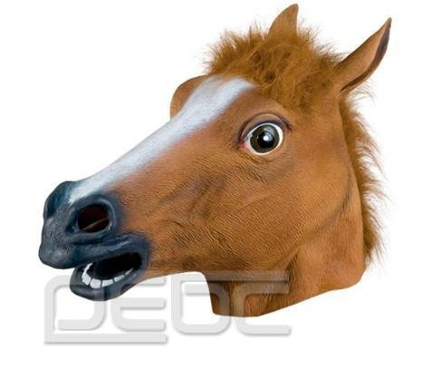 Гаджет  FREE SHIPPING Novelty Creepy Horse Halloween Head latex Rubber Costume Theater Prop Party Mask None Дом и Сад