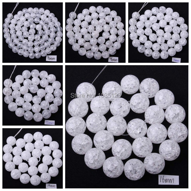 "Free Shipping 4.6.8.10.12.14.16mm Pretty Natural Cracked Round Rock Crystal Quartz Loose Beads Strand 15"" Jewellery Making wj68(China (Mainland))"