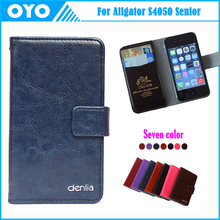 Factory Price For S4050 Senior Case 7 Color Genuine Leather Exclusive For Aligator S4050 Senior Phone Cover+Tracking(China (Mainland))