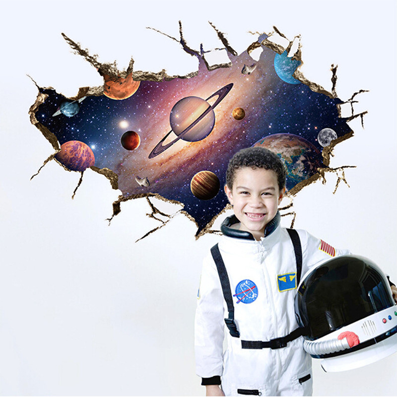 Solar System Outer space Astronauts 3D wall stickers for nursery kids room living room pvc quotes wall stickers home decor PVC &(China (Mainland))