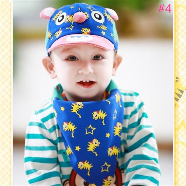 New fashion baby spring cartoon hat set hat+bib /scarf Infant boy/girl soft cotton suncap TM-15004 5pcs/lot(China (Mainland))