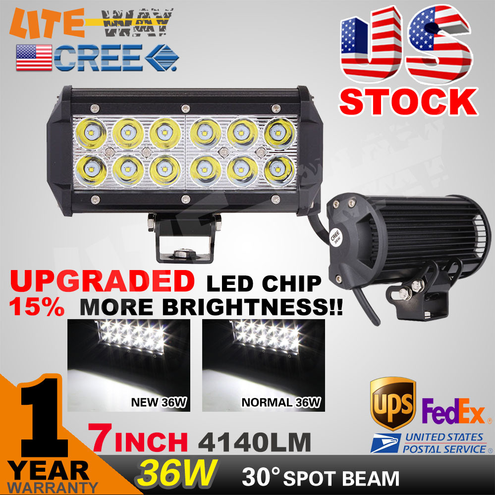 2PCS 7INCH 36W CREE LED WORK LIGHT BAR FLOOD OFFROAD LIGHT FOR TRACTOR BOAT ATV MILITARY LED WORK LIGHT BAR<br><br>Aliexpress