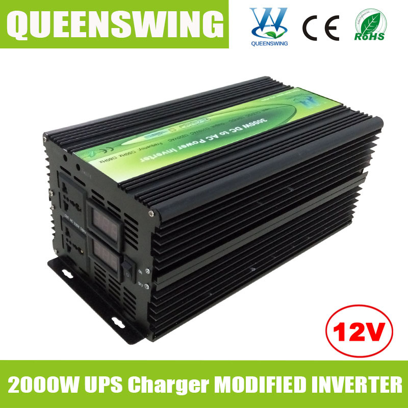 QUEENSWING Modified Sine Wave Power Inverter DC AC 12V 220V 2000W with UPS Charger and digital