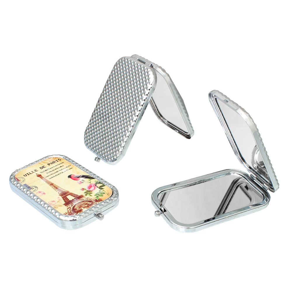 Make Up Pocket Mirror Cosmetic Rectangle Foldable Silver Tone At Random Eiffel Tower Pattern 10.3cm(4″) x 6cm(2 3/8″), 1 Piece