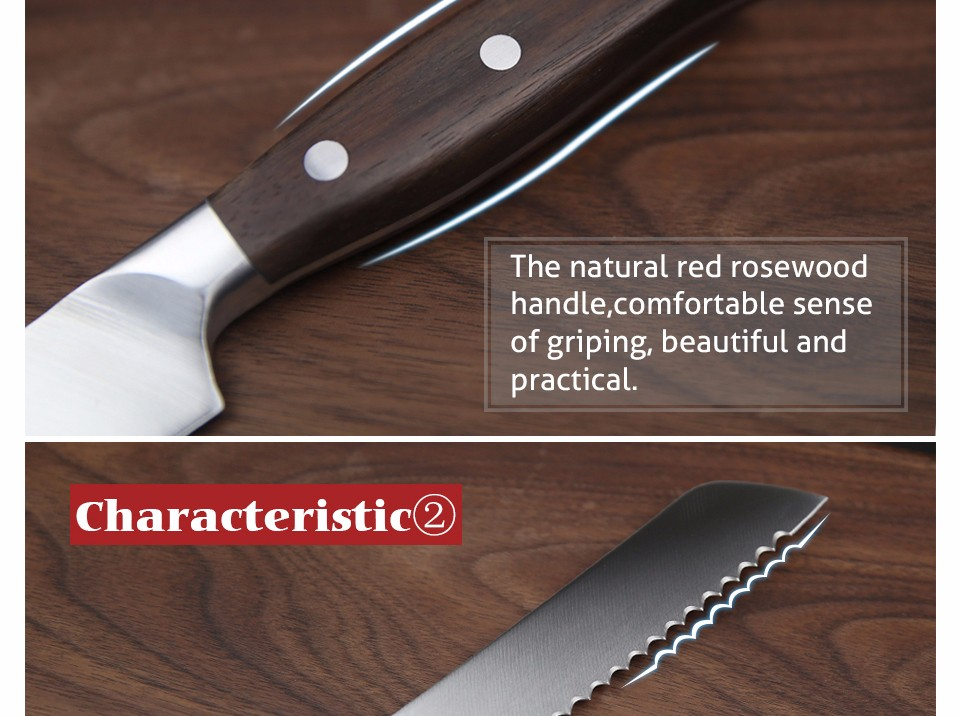 """Buy XINZUO high quality 8"""" inch bread knife cake knife GERMAN 1.4416 stainless steel kitchen knife cook tool with Pakka wood handle cheap"""